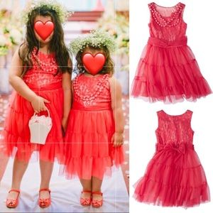 Coral lace tulle dress girls with necklace M & L